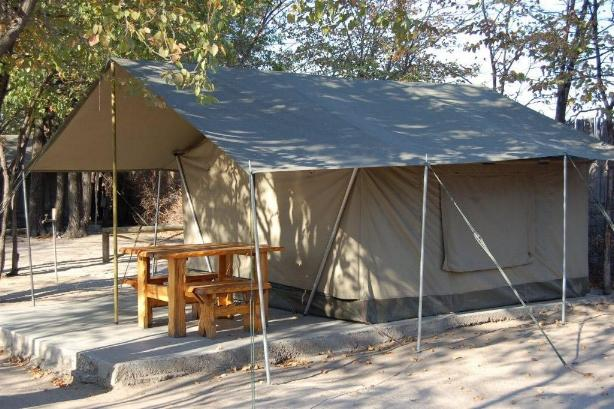 Bedded tent exterior