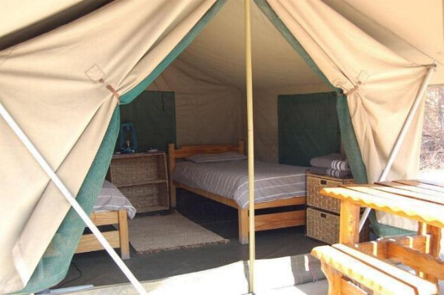 Bedded tent interior