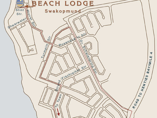 Beach Lodge Swakopmund map