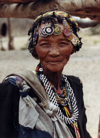 Bushman woman at Nhoma Camp Tsumkwe, Namibia