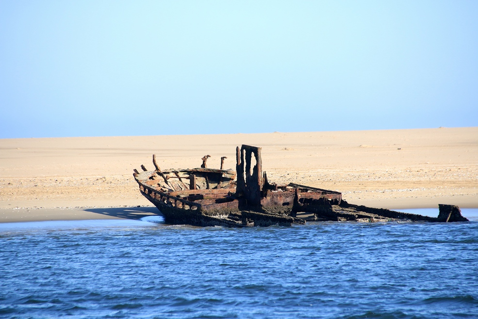 Unknown shipwreck, near Pelican Point Lodge, Walvis Bay, Namibia